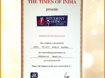 IVWS student awarded with Times NIE Student of The Year Award 2016-17