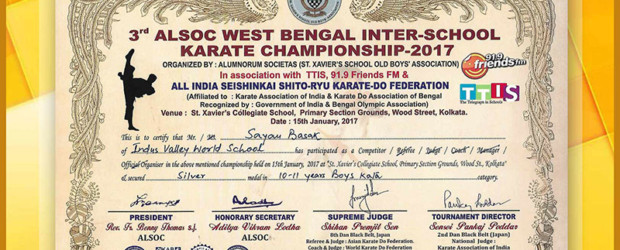 IVWS student wins silver in Karate Championship | Indus Valley World School